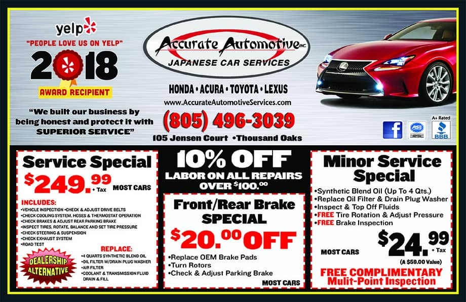 Auto Repair Specials In Thousand Oaks